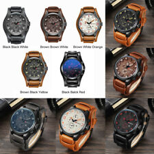 Fashion Luxury Men Leather Quartz-Watch Waterproof Analog Army Sport Wrist Watch