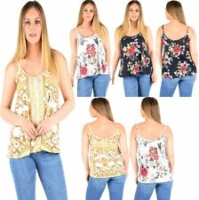 Womens Floral Printed Cami Vest Top Ladies Sleeveless Strappy Summer Top Tees