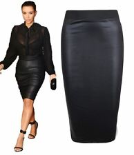 Ladies Black Wet Look Pencil Midi Skirt Womens Shinny PVC Elasticated Band Skirt