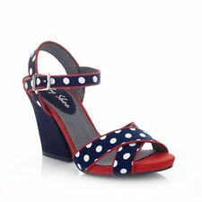 Ladies Ruby Shoo Heeled Sandals in Navy & White Polka Dot with Ankle Strap Evie