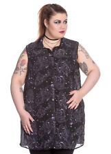 NEW PLUS SIZE Dark Sea Long Neptune BLOUSE TOP 18 20 22 SHEER STEAMPUNK BLACK