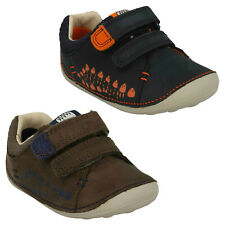 TINY TRAIL BOYS CLARKS LEATHER RIPTAPE DINOSAUR CASUAL PRE WALKERS FIRST SHOES