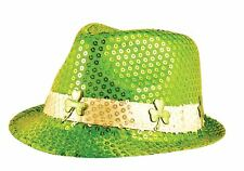 Adult Irish Sequin Gangster Hat with Shamrock ST Patricks Day Fancy Accessories
