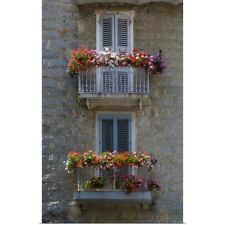 Poster Print Wall Art entitled France, Corsica, Flower Boxes On Window