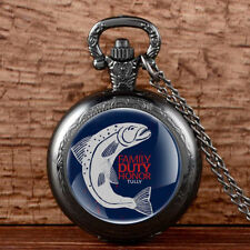 Antique Game Of Thrones House Tully Pocket Watch Quartz Fish Pattern Necklace