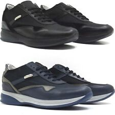 SNEAKERS UOMO IN PELLE, CAMOSCIO E TELA MADE IN ITALY NERO, BLU
