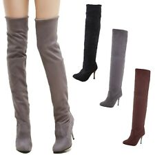 Over knee boots womens shoes Winter Thigh Length Stiletto Heel Fashion UK 1-8