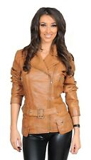 Womens Fitted Mid Length Real Leather Jacket Biker Zipped Waist Belt Tan Coat