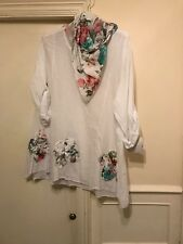 New Womens Ladies Lagenlook Floral Italian Cotton Baggy Scarf Tunic Top sz 12-22