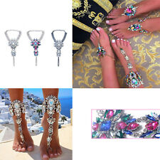 Luxury Crystal Flower Pendant Anklet Chain Ankle Barefoot Sandals Foot JewelryFO