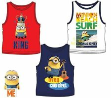 New boys licensed Despicable Me Minions summer vest shirt sleeveless crew neck
