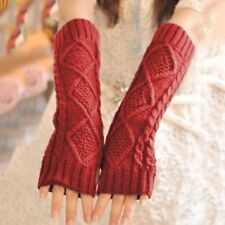 Women Fashion Solid Knited Half Fingers Soft Casual Pair Gloves Mittens