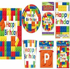 Building Blocks Birthday Party Range Kids Lego Fun Tableware Balloons Decoration