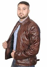 Synthetic Leather Jacket For men High Quality Brown Washed and Waxed