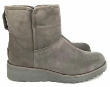 Ugg Classic Slim Collection Kristin Suede Gray Short Wedge Women's Boots