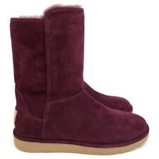 UGG Abree Luxe Short II Slim Premium Suede Lined Boots Port Color Size 6