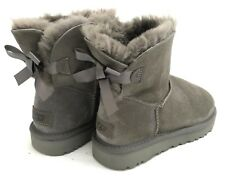 Ugg Mini Bailey Bow II Gray Suede Women's Boots Size 6