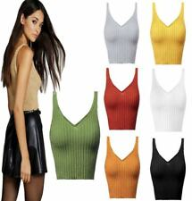 Women Sleeveless Strappy Plain Knitted Crop Top Ladies V Neck Stretch Ribbed Top