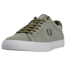 Fred Perry Underspin Pique Mens Olive Canvas Casual Trainers Lace Up New Style