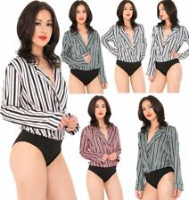 Womens Long Sleeve Striped Satin Wrap Over Bodysuit Ladies V Neck Collared Top