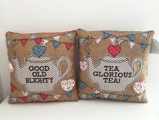"""SHABBY VINTAGE CHIC  STYLE TEA CUSHION HESSIAN FLORAL BUNTING TEAPOT """"BLIGHTY"""""""