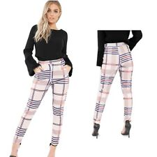 Ladies Women Tartan Check Tapered Tailored Trousers High Waist Cigarette Pants