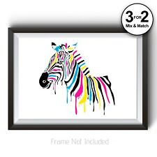Animal Poster - Zebra Wall Art Print - Abstract Painting - Giclee Quality