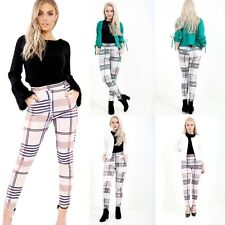 Women Tartan Check Tapered Tailored Trousers Ladies High Waist Cigarette Pants