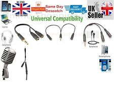 3.5mm Stereo Audio Male to 2 Female Headset Mic Y Splitter Cable Adapter Y-Cable