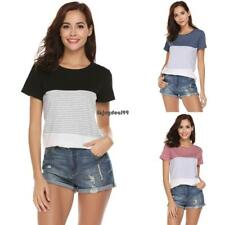 Women Casual Round Neck Short Sleeve Striped Patchwork T-Shirt Top OO55 01