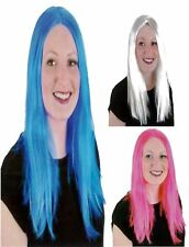 Women Blue White Long Wigs Cosplay Straight Wig Fancy Party Wig Ladies Long Wig