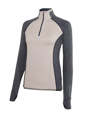 Noble Outfitters Athena 1/4 Zip Top - Oatmeal Heather/Charcoal Heather
