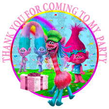 70 x Personalised Trolls party stickers rewards favours cone labels birthday