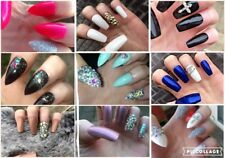 Hand Painted Press On False Nails x 20/24 Coffin Stiletto Square Crystal Glitter
