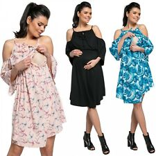 Zeta Ville. Women's Maternity Nursing Swing Dress Cold Shoulders 3/4 Sleeve.604p