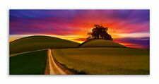 Road Canvas Field Sunset Horizon Tree Landscape Wall Art Picture Home Decor