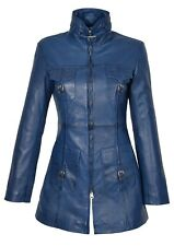 Ladies 3/4 Fitted Leather Coat Carol Blue WOMENS Trendy Latest Leather Jacket