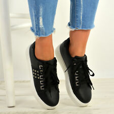New Womens Lace Up Trainers Ladies Flat Low Heel Sneakers Studs Shoes Size Uk