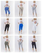 WOMENS LADIES ELASTICATED 3/4 SHORTS CROPPED CAPRI TROUSER STRETCH POCKETS PANTS