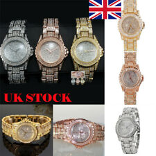 Women Bling Crystal Rhinestone Diamond Stainless Steel Analog Quartz Wrist Watch