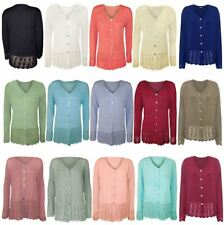 Womens Long Sleeve Knitted Button Cardigan Top Ladies Fancy Crochet Sweater