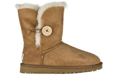 UGG STIVALETTI WOMEN'S SUEDE BOOTS BAILEY BUTTON BROWN DE4