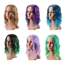 Women Medium Length Wig Curly Ombre Heat Resistant Lolita Hair for Party Cosplay