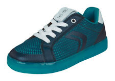 Geox Boys Trainers J Kommodor B.A Casual LED Flash Lights Shoes - Navy and Blue