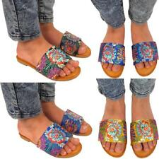 Womens Floral Satin Design Flat Ladies Slip On Summer Casual Slippers Sandals UK