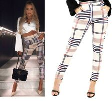 Ladies Tartan Check Print High Waist Tapered Tailored Trousers Cigarette Pants