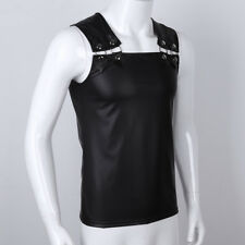 Mens Leather Gothic Punk Vest Sleeveless Waistcoat Vest Muscle T-shirts Clubwear