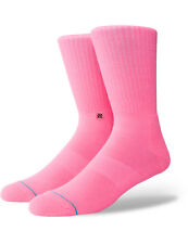 Stance Icon Anthem Crew Socks in Florescent Pink