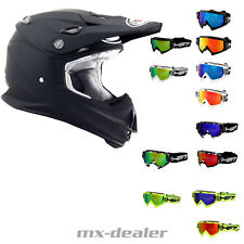 SUOMY SIGNOR JUMP NERO OPACO + HP7 OCCHIALI DA CROSS MX Casco motocross enduro