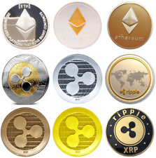 Gold Silver Plated Bitcoin Ripple XRP Ethereum Coin WITH CASE Bitcoin UK SELLER